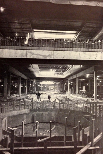Construction of the interior of the mall, 1973